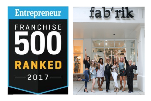 fab'rik named Top 500 Franchises by Entreprenuer Magazine